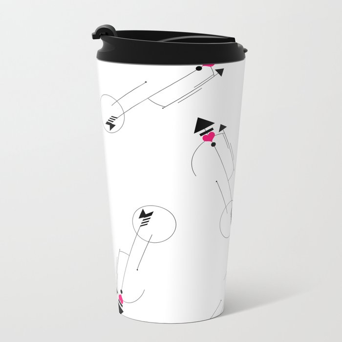 Cupid's Arrow Geometric Metal Travel Mug