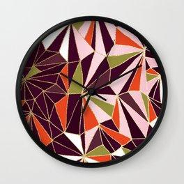 New Art Deco Geometric Pattern - Burgundi and Pink #deco #buyart Wall Clock