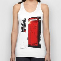 telephone Tank Tops featuring telephone box by Lued