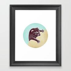 Climbing Raccoon Framed Art Print