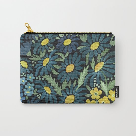 Watercolor . Blue daisies . Carry-All Pouch