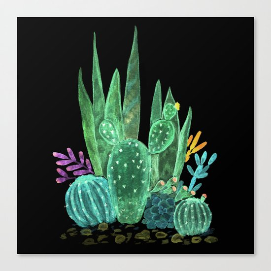 Cacti and succulents on a black background. Canvas Print