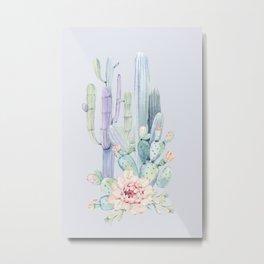 Mixed Cacti 2 Blue #society6 #buyart Metal Print
