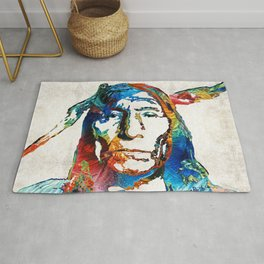Native American Art - Warrior - By Sharon Cummings Rug