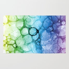 Watercolor rainbow abstract bubble splashing paint isolated on white background Rug