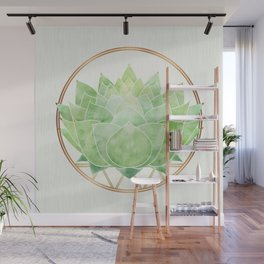 Watercolor Succulent with Metallic Gold Accents Wall Mural