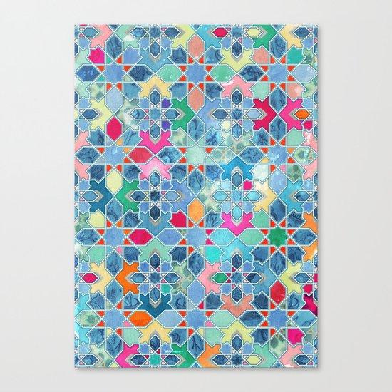 Pretty Pastel Moroccan Tile Mosaic Pattern Canvas Print