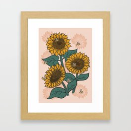Sunflowers + Bees on Pink Framed Art Print