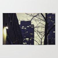 conan Area & Throw Rugs featuring Morning  at 30 Rock by Benjamin Hunter