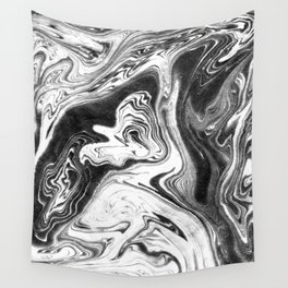 Mishiko - spilled ink abstract marble painting black and white minimal modern marbled paper water  Wall Tapestry