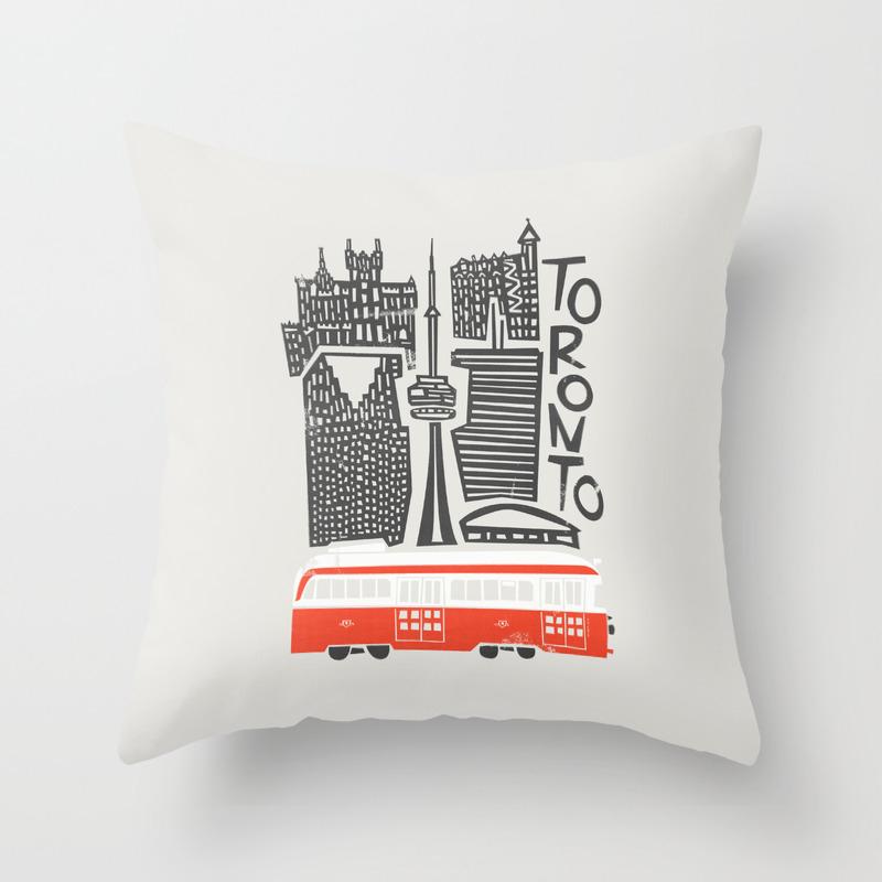 Toronto Cityscape Throw Pillow By Foxandvelvet Society6
