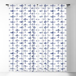 Blue Watercolor Airplanes Blackout Curtain