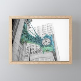The Blue Chicago Clock Framed Mini Art Print