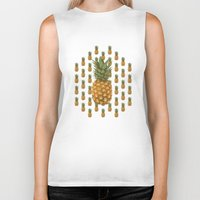 pineapples Biker Tanks featuring Pineapples by Brocoli ArtPrint
