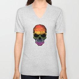 Dark Skull with Gay Pride Rainbow Flag Unisex V-Neck