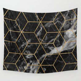 Golden deco black marble geo Wall Tapestry