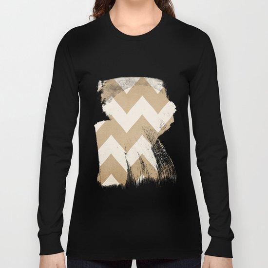 Biscotti & Vanilla - Beige Chevron Long Sleeve T-shirt
