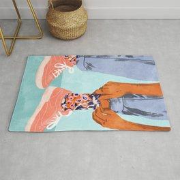 Pull Up Those Pretty Socks! #painting #illustration Rug