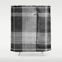 Stitched Plaid in Black and White Shower Curtain