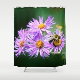 Bee Vibrant Beautiful Purple Flowers Shower Curtain