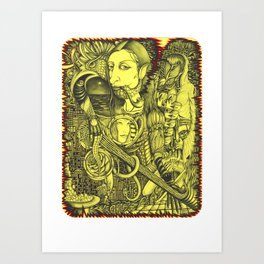 Black-and-yellow gap Art Print