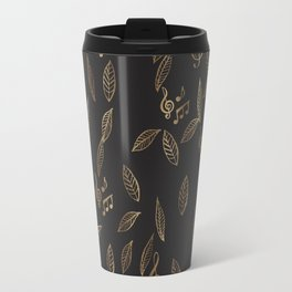 Abstract Gold and Black Musical Fall Leaves Travel Mug