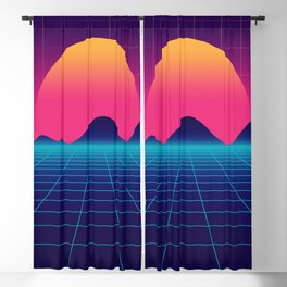 Throwback Sunset Synthwave Blackout Curtain