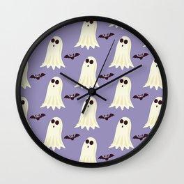 Halloween ghosts   Halloween Bats   Batcave   Purple pillows Wall Clock