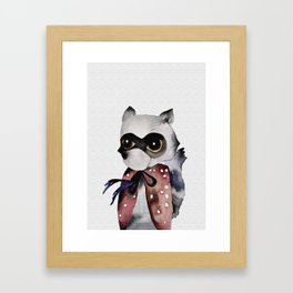 Kid racoon watercolour painting Framed Art Print