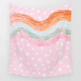 Stars & Rainbow Paint Strokes Pattern Wall Tapestry