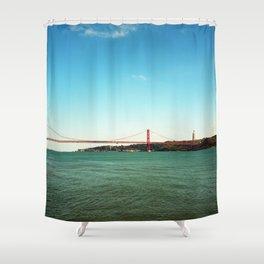 Lisbon red brdge - Analog 6x6 Kodak Ektar 100 (RR159) Shower Curtain