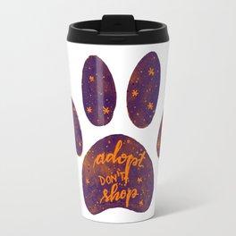 Adopt don't shop galaxy paw - purple and orange Travel Mug