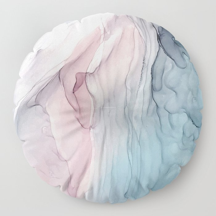 Calming Pastel Flow- Blush, grey and blue Floor Pillow