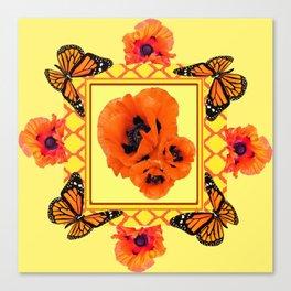WESTERN ORANGE POPPIES & BUTTERFLIES  YELLOW ART DESIGN Canvas Print