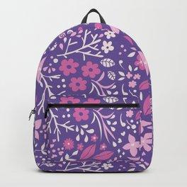 Floral doodles in pink and violet Backpack