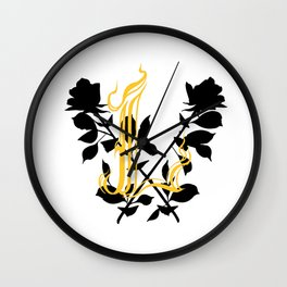 Locust Tattoo roses and L monogram by Sarah de Azevedo Wall Clock
