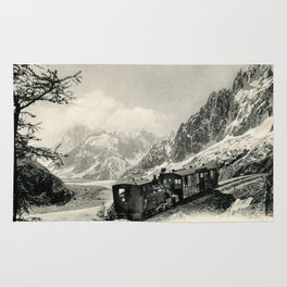 Antique train rack railway near Mont Blanc French Alps Rug