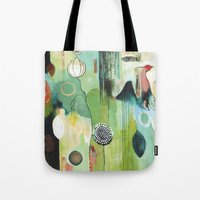 "flora bowley Tote Bags featuring ""Fly Home"" Original Painting by Flora Bowley by Flora Bowley"