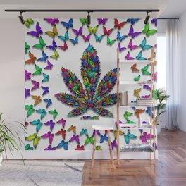 Butterflies Cannabis Leaf 2 Wall Mural