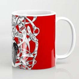 Lady in Belts Fantasy on red.  Yury Fadeev. Coffee Mug
