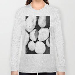 Zen White Stones On A Black Background #decor #society6 #buyart Long Sleeve T-shirt