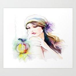 Watercolor Girl V4 Art Print