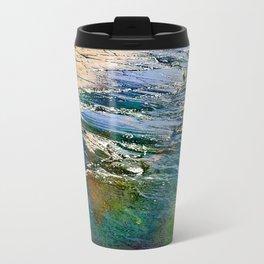 Colored sea waves licking the rock Metal Travel Mug