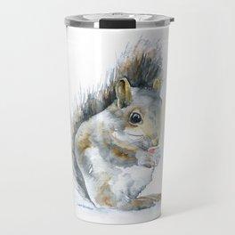 Gray Squirrel Watercolor Painting Travel Mug