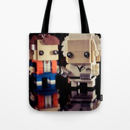 """""""Doc, where the heck is the delorean?!"""" Tote Bag"""
