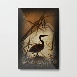 heron fishing Metal Print