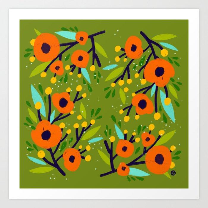 Leta Floral in Olive Green - Vintage Retro Flowers - Digital Painting Kunstdrucke