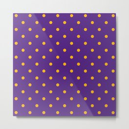 Polka Dots Pattern: Purple & Yellow Metal Print