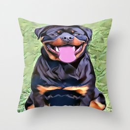 Happy Rottweiler Throw Pillow