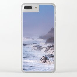 A Huge Barrel Wave and Waterfalls During Sunset at Shore Acres State Park in Oregon Clear iPhone Case